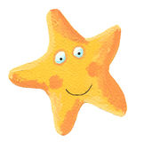 Funny yellow star. Hand made acrylic illustration of funny yellow star