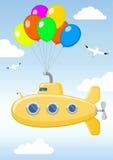Funny yellow submarine in the sky Royalty Free Stock Photos