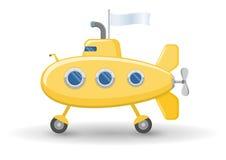 Funny yellow submarine on wheels Stock Photo