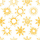 Funny yellow summer sun vector seamless pattern. Background with sun sketch, illustration of natural cartoon hot sun Royalty Free Stock Images
