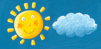 Funny yellow sun. In the sky Stock Photography