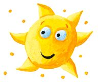 Funny yellow sun Royalty Free Stock Photography