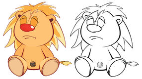 Funny yellow young lion cartoon. Coloring page Royalty Free Stock Image