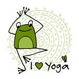 Funny yoga frog, sketch for your design Royalty Free Illustration