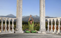 Funny Yoga lotus pose Stock Photography