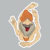 Funny Yogi sticker. In cartoon comic style Royalty Free Stock Photos
