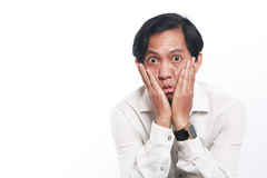 Funny Young Asian Businessman Looked Very Bored Royalty Free Stock Photography