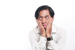 Funny Young Asian Businessman Looked Very Bored Stock Photo