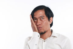 Funny Young Asian Businessman Looked Very Bored Stock Photos