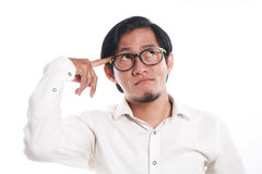 Funny Young Asian Businessman Thinking Stock Photos