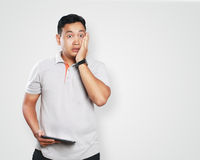 Funny Young Asian Guy Shocked Royalty Free Stock Photos