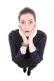 Funny young beautiful business woman in black dress surprised is Stock Images