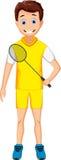 Funny young boy holding badminton racket Stock Photos