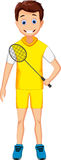 Funny young boy holding badminton racket Royalty Free Stock Photography
