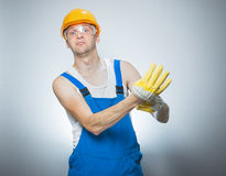 Funny young builder Stock Photo