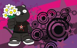 Cute chubby panther cartoon expression background Stock Images