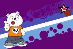 Funny chubby polar bear cartoon expression background Stock Image