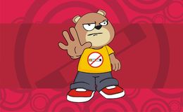 Stop young chubby teddy bear cartoon expression background Stock Photos