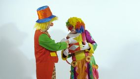 Funny young clowns agreeing to give a present to someone stock video