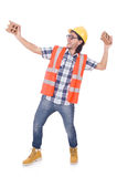 Funny young construction worker with broken brick Royalty Free Stock Photos