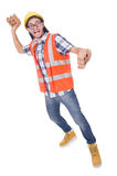 Funny young construction worker with broken brick Royalty Free Stock Image