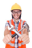 Funny young construction worker with hammer Stock Photo