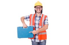 Funny young construction worker with toolbox Royalty Free Stock Images