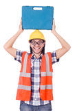 Funny young construction worker with toolbox Stock Photo
