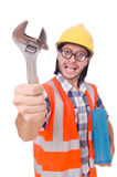Funny young construction worker with toolbox and Stock Photo
