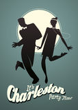 Funny young couple dancing Charleston Royalty Free Stock Photo