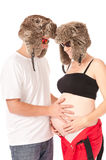 Funny young couple expecting a baby Royalty Free Stock Photo
