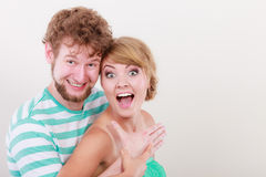 Funny young couple making silly face Stock Photo