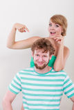 Funny young couple making silly face Stock Photos