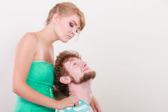 Funny young couple making silly face Royalty Free Stock Photography