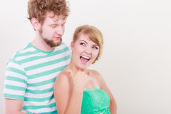 Funny young couple making silly face Royalty Free Stock Photos
