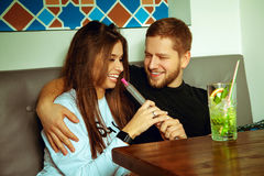 Funny young couple relaxing royalty free stock photo