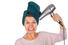 Funny hair drying after shower Stock Image