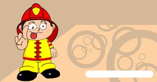 Funny Young firefighter kid cartoon background. Cute young firefighter kid cartoon background in vector format Royalty Free Stock Image