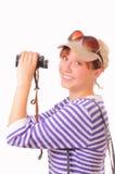 Funny young girl with binoculars Stock Image