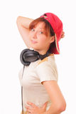 Funny young girl with headphones Royalty Free Stock Photo