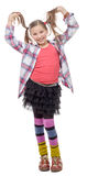 Funny young girl in hipster style, with ponytails, isolated on Royalty Free Stock Image