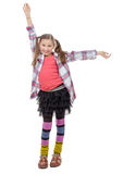 Funny young girl in hipster style, with ponytails, isolated on Stock Photo