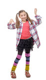 Funny young girl in hipster style, with ponytails, isolated on Stock Image