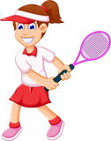 Funny young girl playing tennis Royalty Free Stock Photography