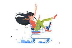Free Funny Young Girl Rides Shopping Cart After Order Complete. Royalty Free Stock Photo - 159487715