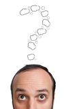 Funny Young guy with question mark over his head Royalty Free Stock Photo