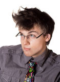 Funny young handsome man in a hippy tie Stock Photography
