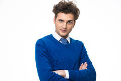Funny young man with arms folded Royalty Free Stock Photos