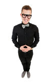 Funny young man in bow tie Stock Images