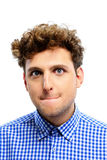 Funny young man with curly hair Stock Photography